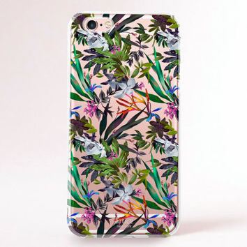 Clear Transparent iPhone 6s case, iPhone 6s plus case, iPhone 6 Case, iPhone 6 Plus Case, iPhone 5S Case, iPhone 5C Case - Exotic flowers