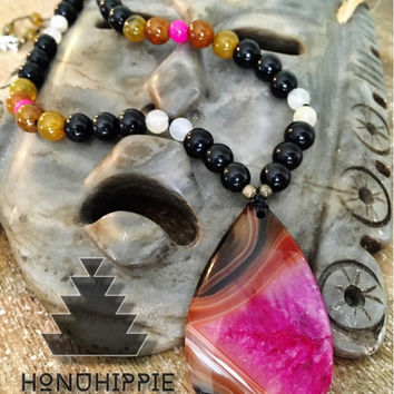Boho Hippie, Crazy Lace Agate Mala Hippie necklace, Gypsy meditation pendant