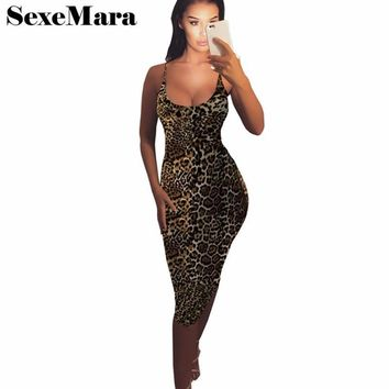 Leopard Printed Sexy Sleeveless & Backless Midi Bandage Dress
