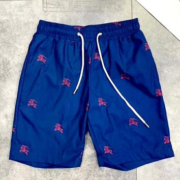 Burberry 2019 new classic horse print beach shorts Blue