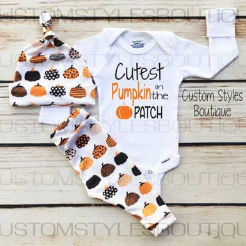 Baby Boys First Thanksgiving Outfit, White Infant Bodysuit, Leggings And Hat With Pumpkins, Baby Boy Thanksgiving Outfit Set