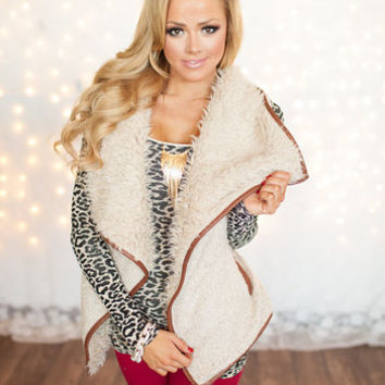 Brown Trim and Cream Fur Vest