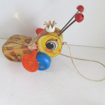 Bumble Bee Pull Toy 1960s Fisher Price Toddler Pull Toys Children Vintage Pull Toys Vintage Wooden Pull Toys Vintage Toddler Toys Vegan Toys