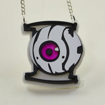 Portal Morality Core Necklace - Laser Engraved and Laser Cut Portal Personality Sphere Necklace - GLaDOS