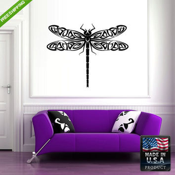 rvz141 Wall Vinyl Decal Sticker Beautiful Cute Dragonfly Animals Bedroom