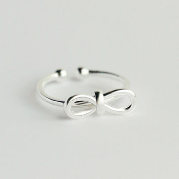 Sweet bowknot 925 sterling silver opening ring,a perfect gift