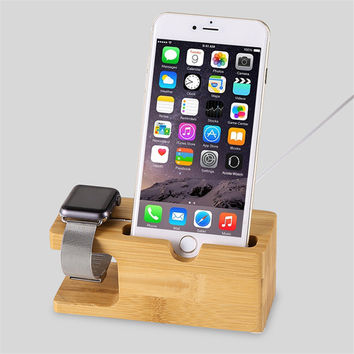 2017 Newest for i Watch iPhone 6 Charging Holder Stand Natural Bamboo Wood Charge Station Charging Dock Cradle Stand Holders