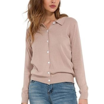 Knitted Buttoned Long Sleeve Sweatshirt