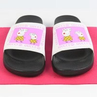 GUCCI & Peppa Pig New fashion letter print flat bottom women and men slippers shoes White