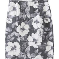 Light Gray Floral Pencil Skirt