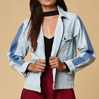 Honey Punch Stripe Sleeve Denim Jacket at PacSun.com