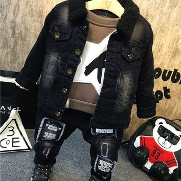 Trendy New Children Kids Boys Clothing Sets Autumn Winter Baby Boys Fur collar denim jacket + sweater + jeans 3Pcs boys Clothes set AT_94_13