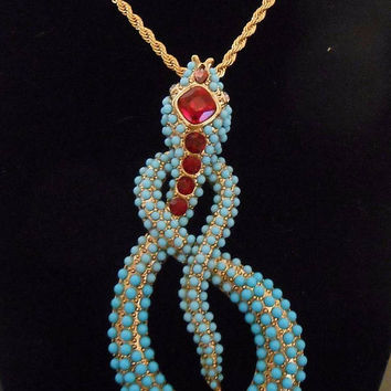 KJL Kenneth Jay Lane Coiled Turquoise Cabochon Coiled Snake Pendant Necklace HUGE
