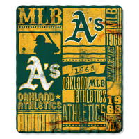 Oakland Athletics MLB Light Weight Fleece Blanket (Strength Series) (50inx60in)