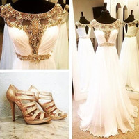 O-neck Prom Dresses,White Prom Dresses,Long Evening Dress