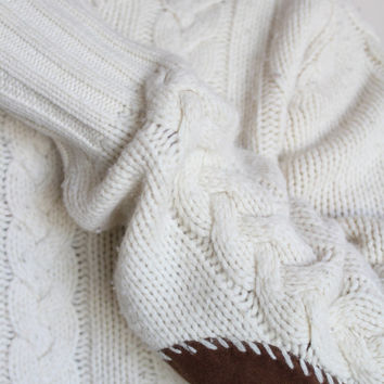 Polo Ralph Lauren Cream Wool Cable Knit Padded Elbow Sweater Mens Small