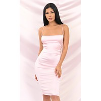Flash And Dance Pink Satin Sleeveless Spaghetti Strap Square Neck Backless Crisscross Bodycon Midi Dress