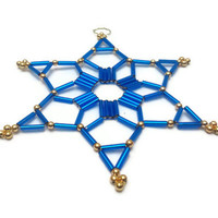 blue Christmas ornament star made from seed beads for Christmas decoration