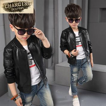 1- 8y 2017 Hot Autumn winter baby boys Kids Thin section jackets children Solid Full PU Faux leather Coats Outerwear Clothing