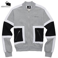 Men Fashion Coats With Zipper Closure Men Sweatshirts And Hoodies Stand Collar Men Hood Patchwork For Fashion Men