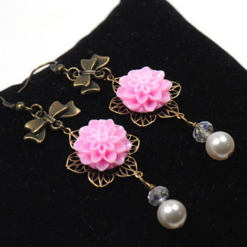Pink Floral Earrings-Dahlia Earrings