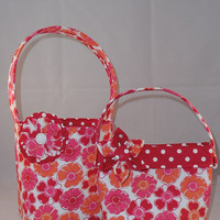 Red and White Matching Little Girls Purse And Easter Basket
