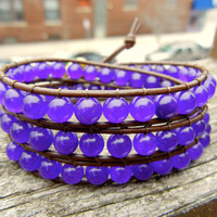 Beaded Leather 3 Wrap Bracelet with Purple Adventurine Gemstone Beads on Brown Leather
