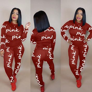 PINK Victoria's Secret Casual Fashion Top Sweater Pullover Pants Trousers Set Two-Piece