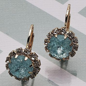 Gold Layered Women Flower Leverback Earring, with Aqua Blue Crystal, by Folks Jewelry
