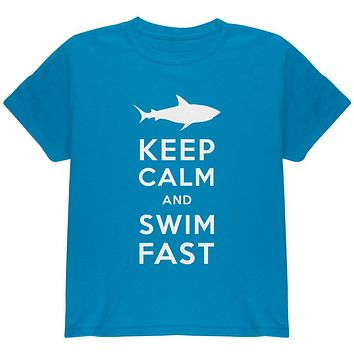 Shark Keep Calm and Swim Fast Youth T Shirt