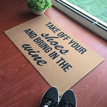 Autumn Fall welcome door mat doormat  Entrance Floor Mat Funny  Leave Your Worries And Your Shoes Take Remove Off Your Shoes Outdoor Rubber s AT_76_7