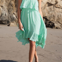 Teal Strapless Sundress