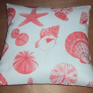 Cotton Coral Sea Shell Print Beach Theme Pillow Cover - Available In 3 Sizes