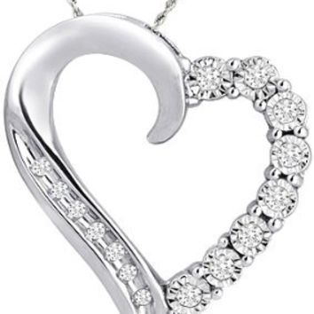 10k White Gold Round and Diamond Heart Pendant Necklace (1/10 cttw), 18""