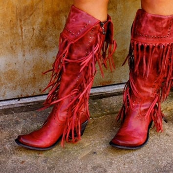 Liberty Black Tall Red Fringe Boot