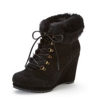 Cecily Lace Up Shearling Bootie