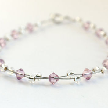 silver and amethyst bracelet, pale pink jewellery uk, swarovski crystal
