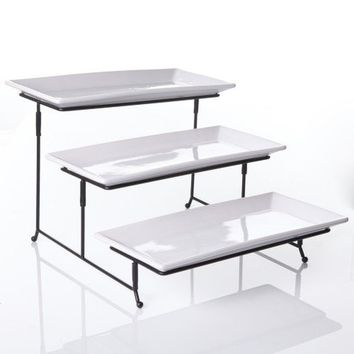 3 Tier Rectangular Serving Platter Three Tiered Cake Tray Stand Food Server D...