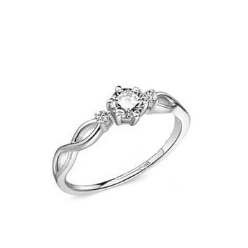 New Hot Fashion 925 Silver Love Intertwined Opening Adjustable Silver Plated Rhinestone Couple Ring