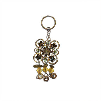 Gold and Green Steampunk Keychain