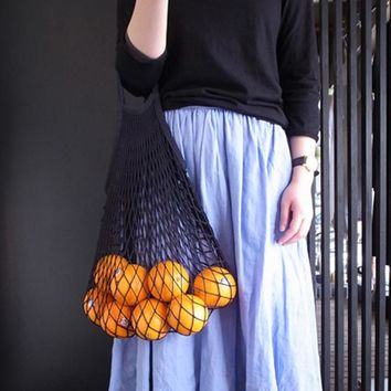 Reusable Fruit Vegetable String Grocery Shopping Cotton Tote Mesh Woven Net Shoulder Bag