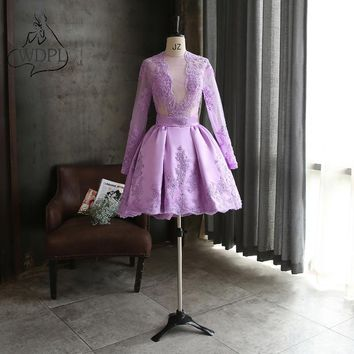 Real Photo Lavender Short Prom Dresses Long Sleeve Knee Length Lace Appliques Formal Party Gowns Sheer O Neck Club Prom Gowns