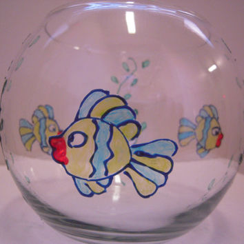 Hand Painted Glass Fish Bowl