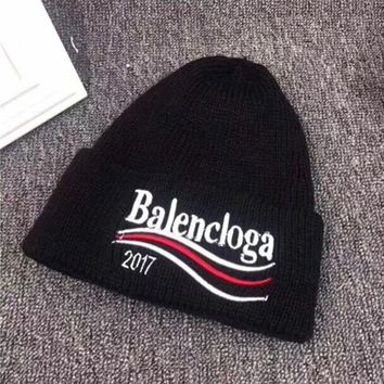 """Balenciaga"" Autumn Winter Fashion Wave Stripe Letter Embroidery Knit Hat Women Warm Hat"