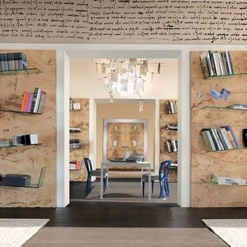 Wall-mounted wooden bookcase Sidney Collection by Bizzotto | design Tiziano Bizzotto