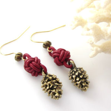 Pine Cone Earrings Celtic Knot Earrings Cranberry Red Leather Jewelry Antique Gold Nature Inspired Nature Lover Gift Best Friend Gift Ideas