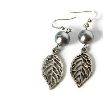 Gray Charm Earrings with Glass Pearls and Leaf Charm on Nickel Free Hooks. Gray Beaded Earrings.