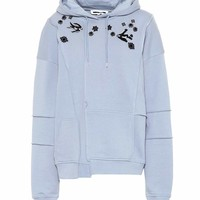 Embroidered stretch cotton hoodie