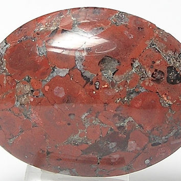 Coppery Red Moss Agate Oval Stone Cabochon