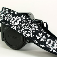Floral Damask, dSLR Camera Strap, Black, White, SLR
